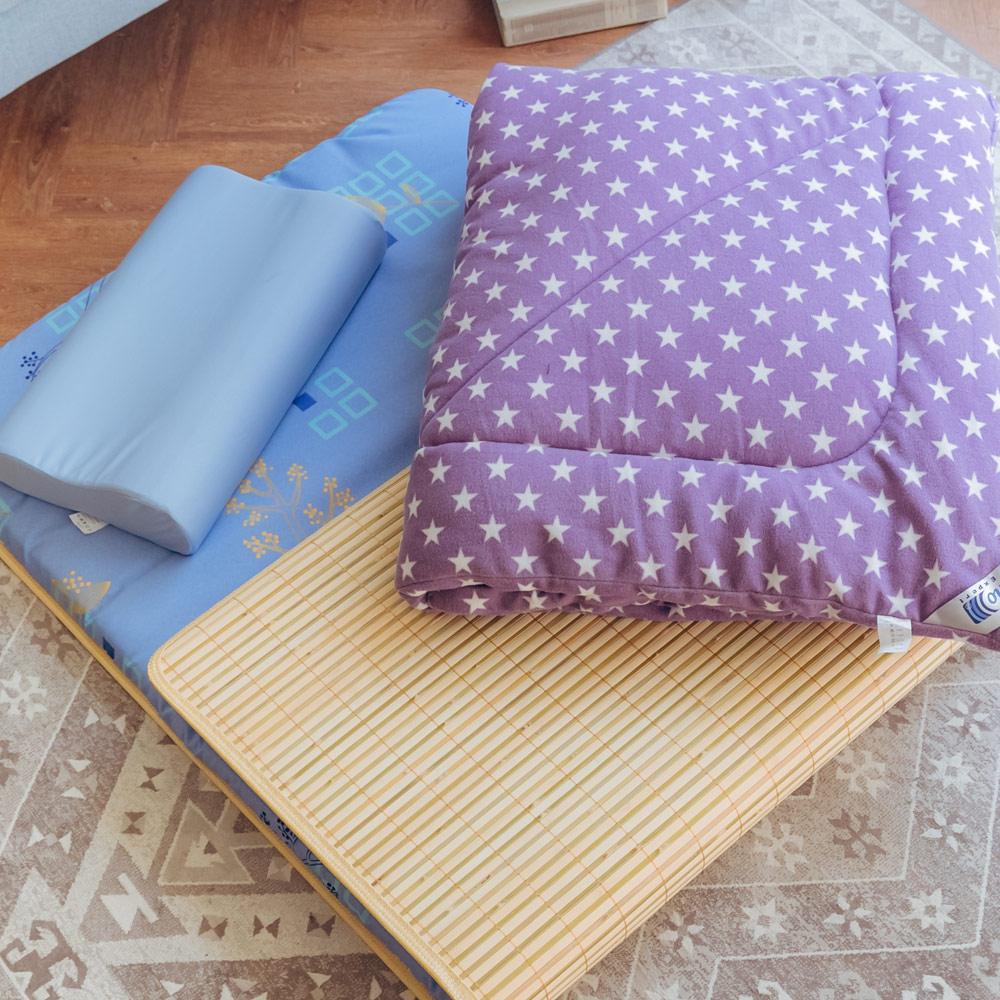 【米夢家居】台灣製造-涼爽桂竹熱烘棉單人床墊+記憶枕+防蹣抗菌暖暖被(紫)外宿熱賣三件組