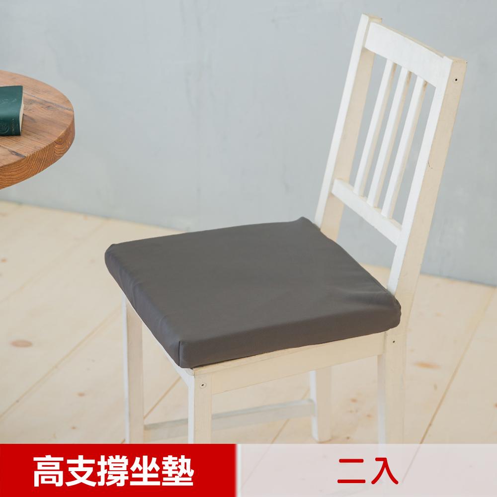 【凱蕾絲帝】台灣製造 久坐專用二合一高支撐記憶聚合紓壓坐墊-深灰(2入)