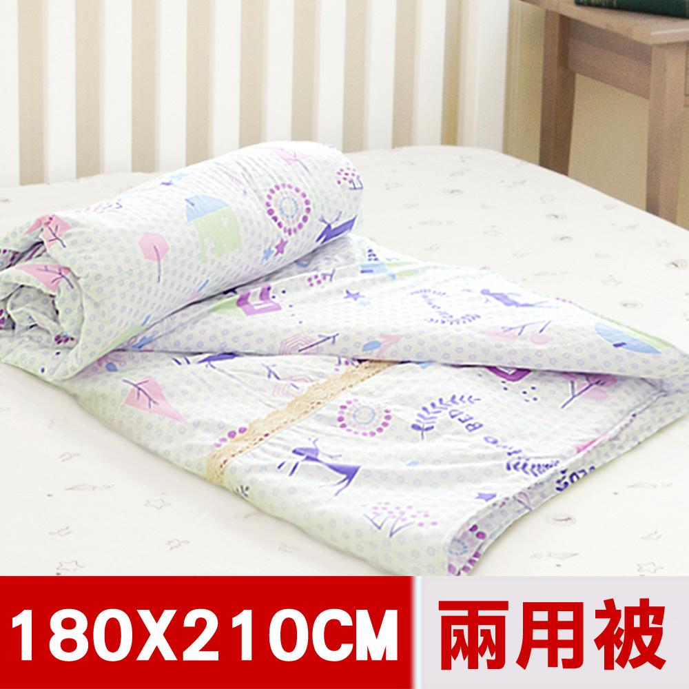 【米夢家居】原創夢想家園系列-台灣製造100%精梳純棉兩用被套(白日夢)-雙人