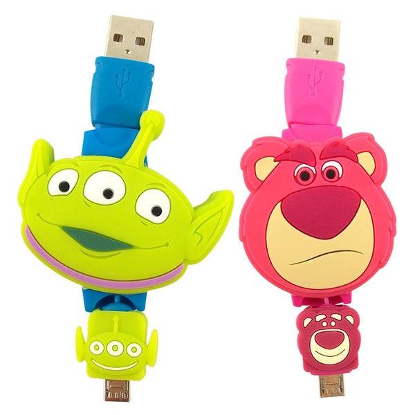 【Disney】Micro USB 玩具總動員TOYS 伸縮傳輸線-三眼怪 熊抱哥