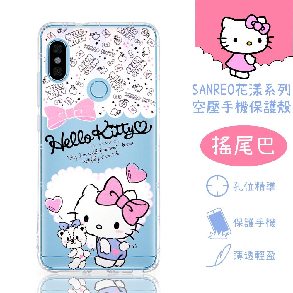 【Hello Kitty】紅米Note 6 Pro 花漾系列 氣墊空壓 手機殼(搖尾巴)