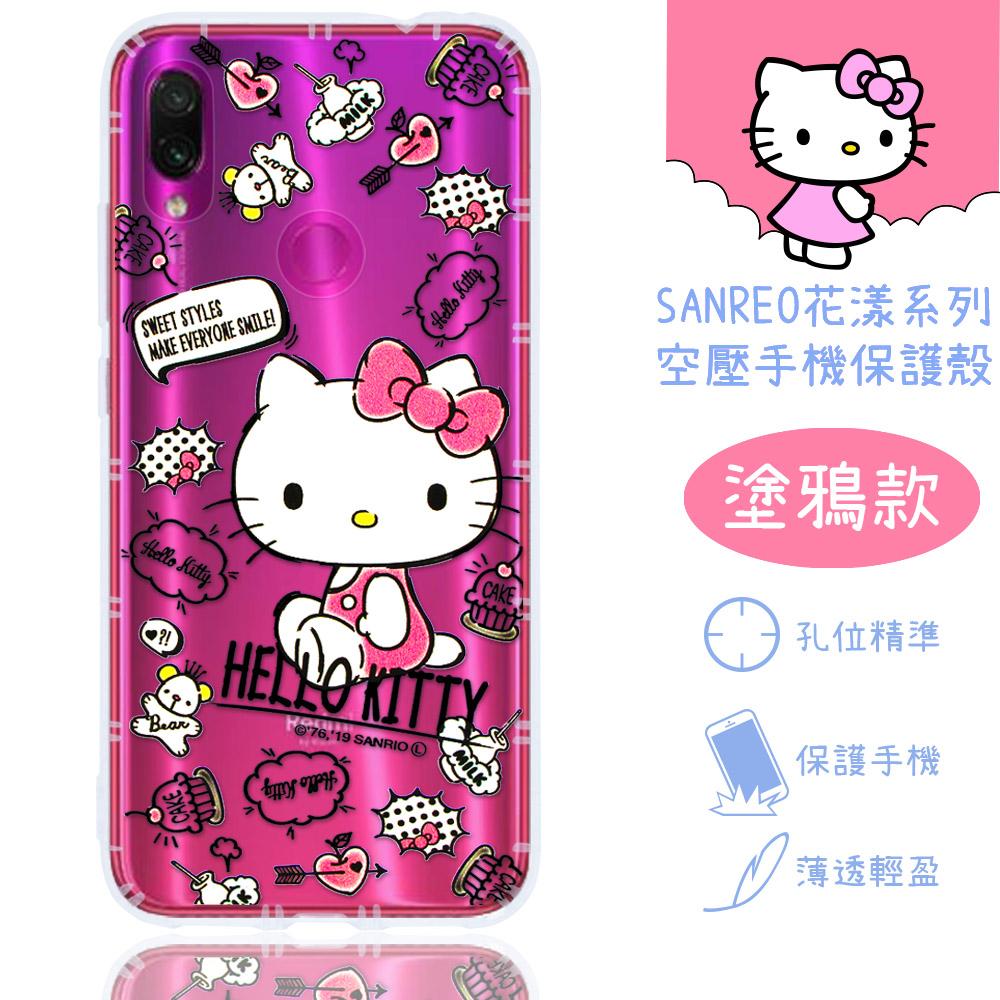 【Hello Kitty】紅米Note 7 花漾系列 氣墊空壓 手機殼(塗鴉)