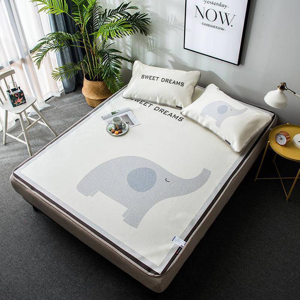 【eyah 宜雅】可爱同萌3D网布劲凉冰丝席双人平面式含枕套3件组-SL卡哇伊小象