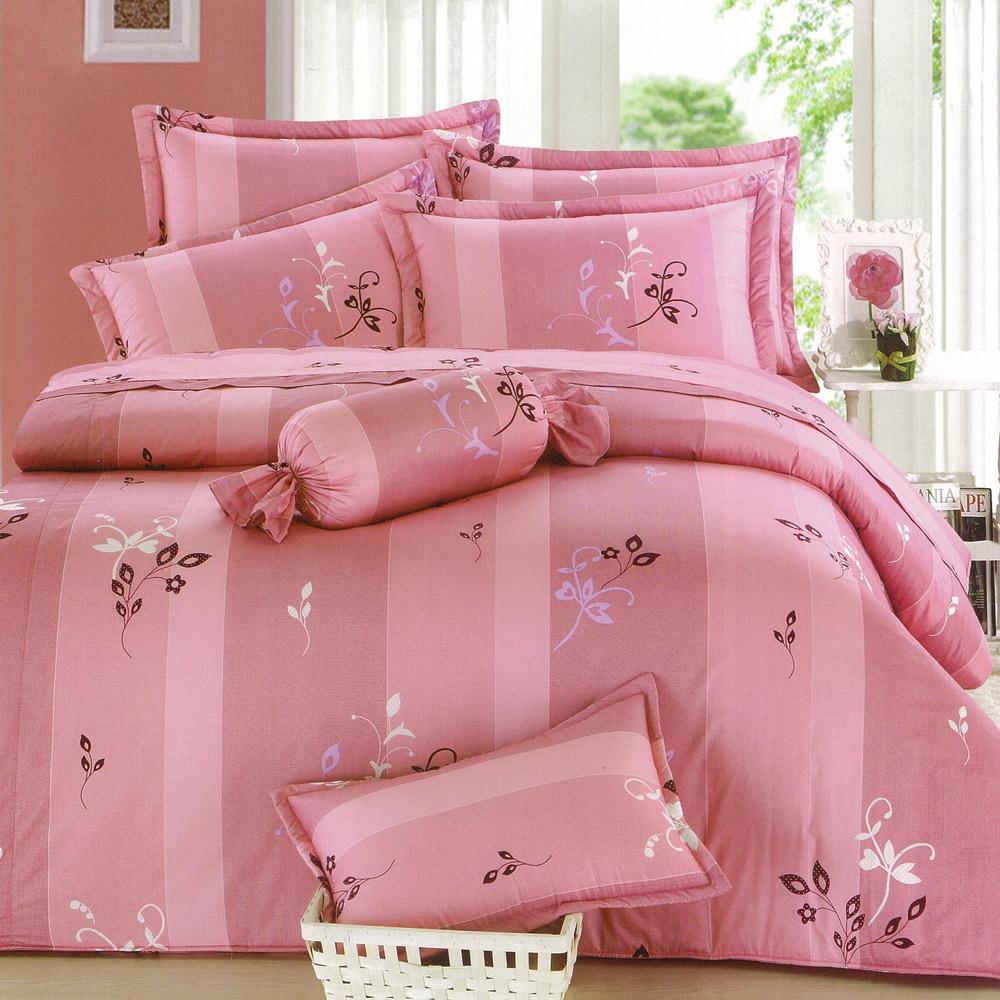 【eyah宜雅】全程台灣製100%精梳純棉雙人特大床罩兩用被全舖棉五件組-小粉花