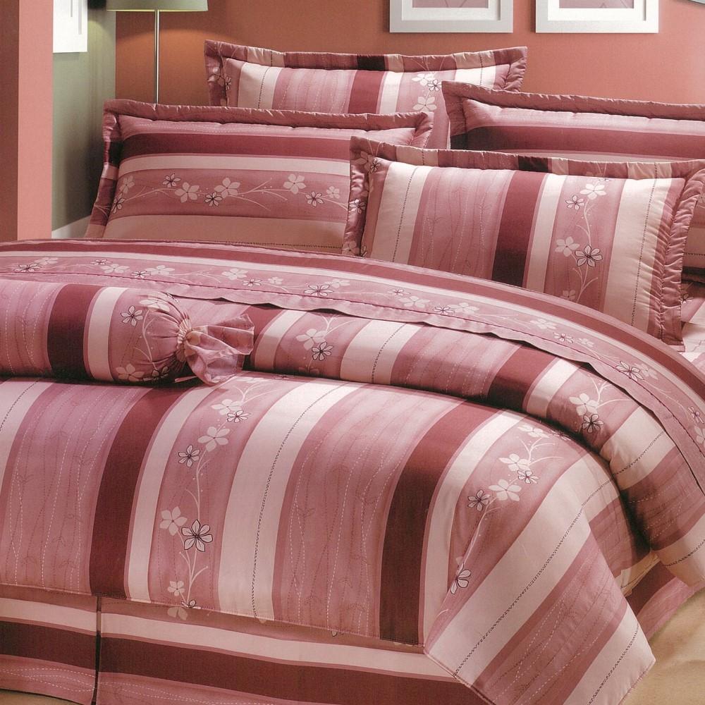 【eyah宜雅】全程台灣製100%精梳純棉雙人特大床罩兩用被全舖棉五件組-粉紅物語