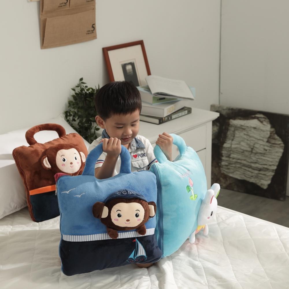 【Leafbaby】卡哇伊立體四季兩用手提抱枕被-海洋好奇猴