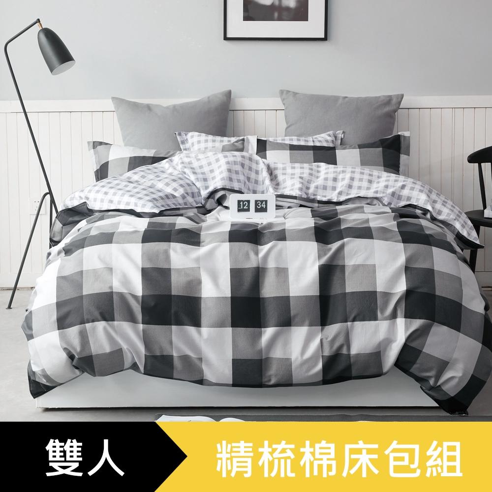 【eyah】100%寬幅精梳純棉雙人床包枕套3件組-黑白映像派
