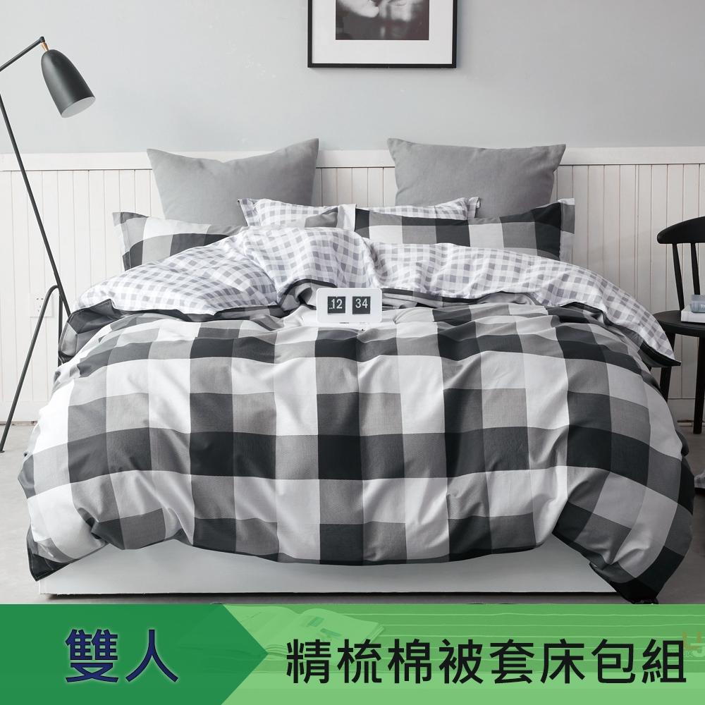 【eyah】100%寬幅精梳純棉雙人床包被套四件組-黑白映像派