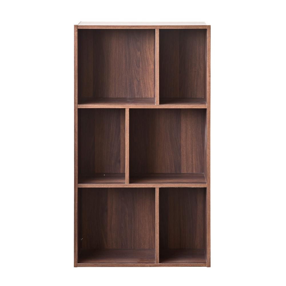 【洛克】升级款三层六格柜-胡桃木色