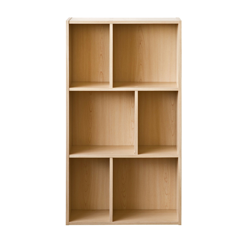 【洛克】升级款三层六格柜-木纹色