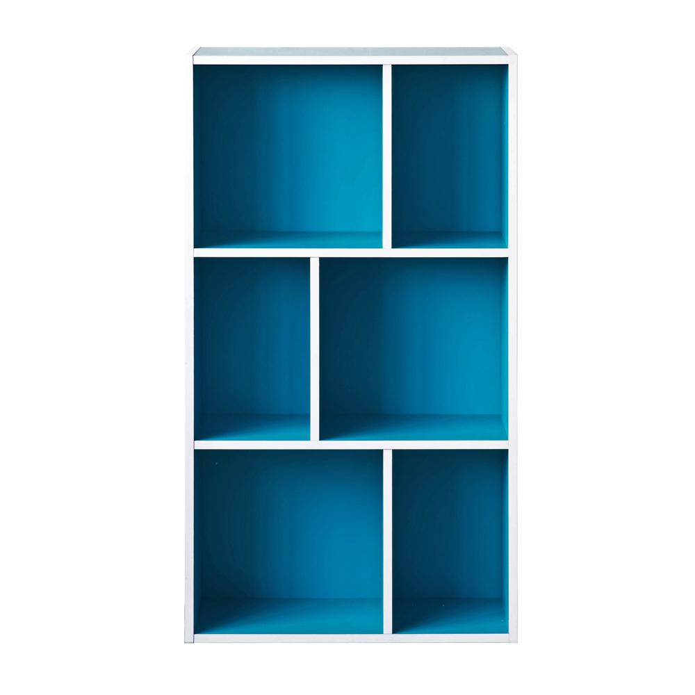 【洛克】升级款三层六格柜-蓝色