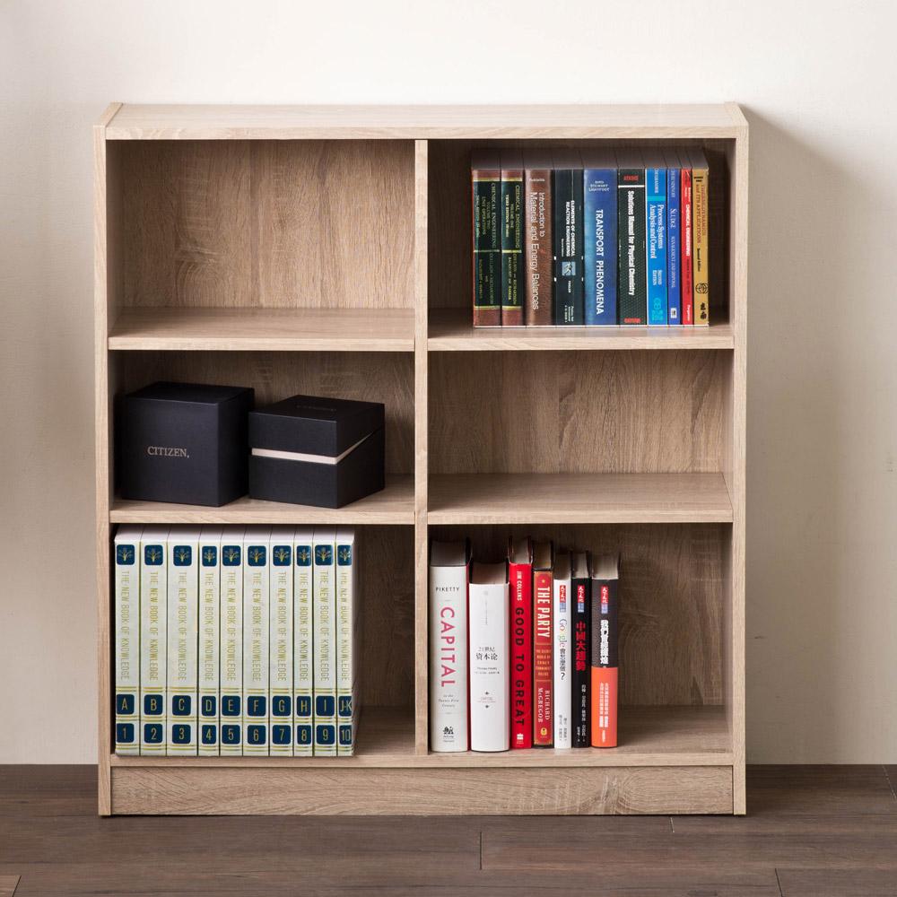 【洛克】居家矮六格書櫃/收納櫃-淺橡木