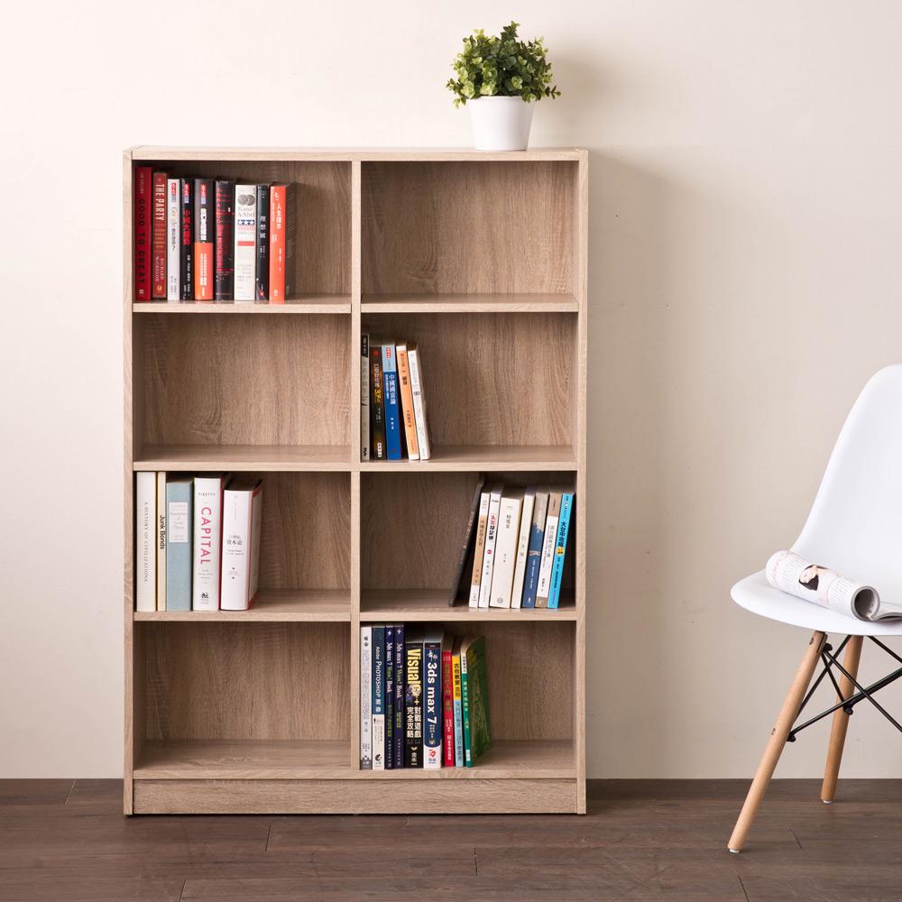 【洛克】居家八格書櫃/收納櫃-淺橡木