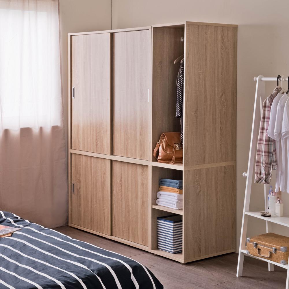 【洛克】開放式衣櫥+推門衣櫥-一組