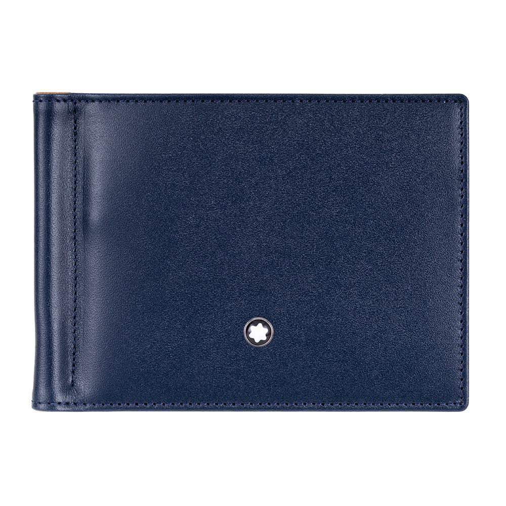 MONTBLANC 万宝龙大班双色系列六卡钞票夹式短夹-深蓝x焦糖棕 118296