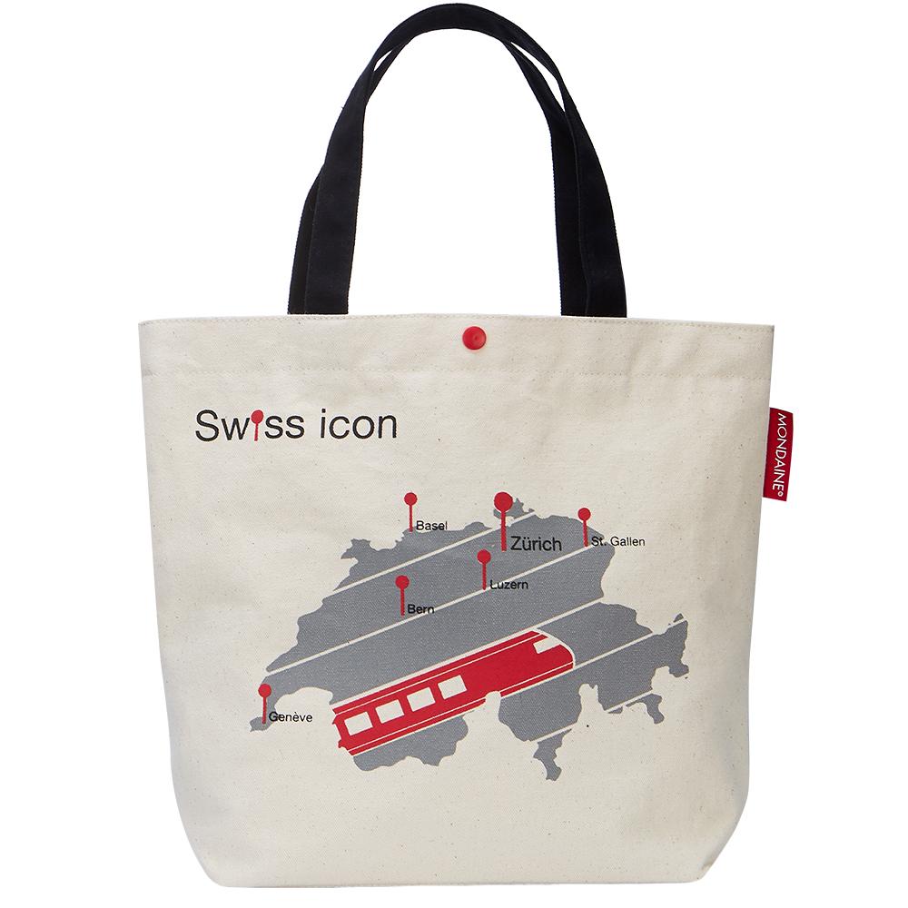 MONDAINE 瑞士国铁火车地图帆布肩背包-原色白