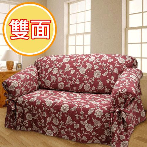 棉花田【雙茶花】雙層提花二用單人沙發便利套-紅色_紅色單人