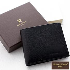 ↘8折【Roberta Colum】牛皮鱷魚紋可拆左右翻卡片短夾