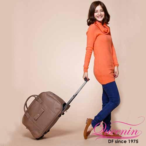 DF Queenin日韓 - 歐洲時尚蝴蝶結款可背拉桿旅行袋-共4色