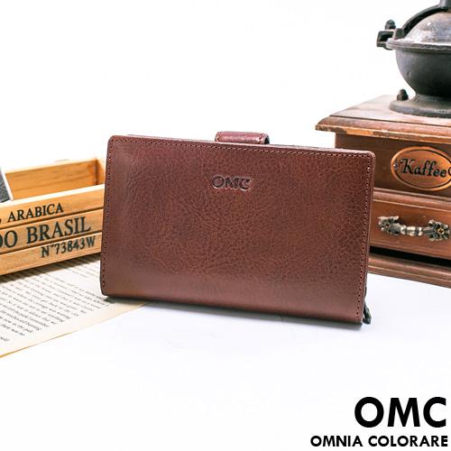 OMC ~ 韓國 精工牛皮原皮多卡零錢式中夾