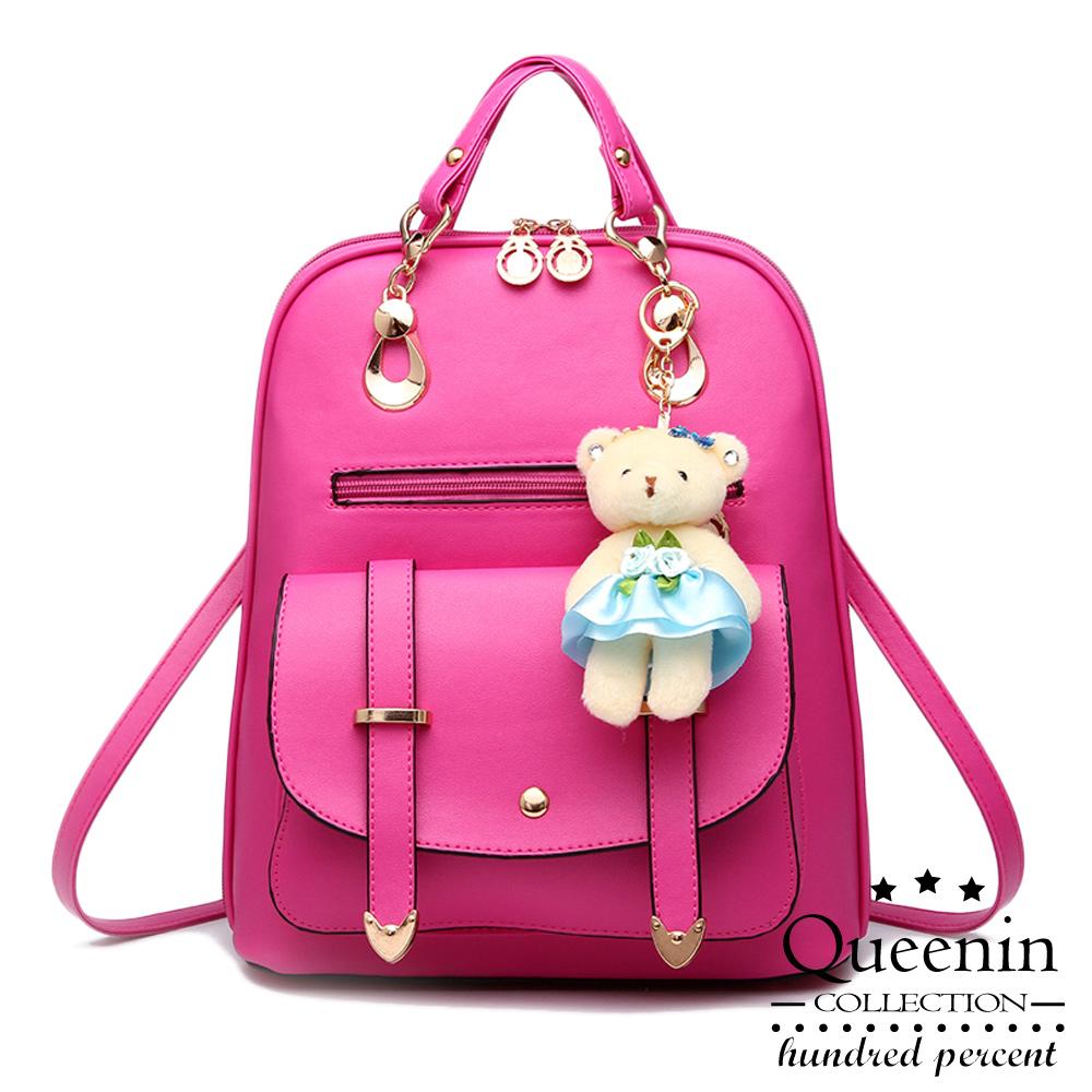 DF Queenin日韓 - 韓版熊吊飾仿皮款2用斜背後背包-共3色