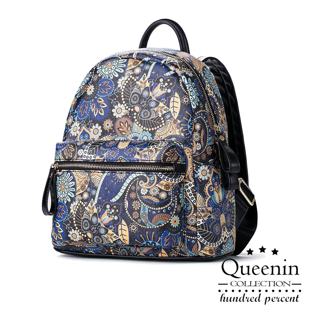 DF Queenin日韓 - 韓版迷幻花園仿皮款後背包