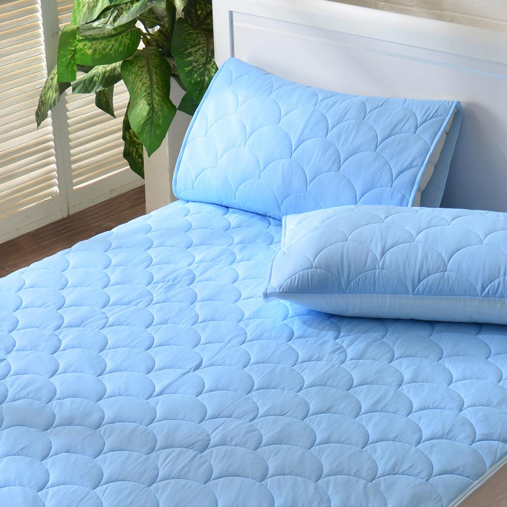 義大利La Belle~繽紛漾彩~粉藍~超涼感信封式保潔枕套~~2入