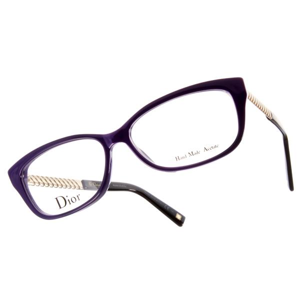 DIOR眼鏡 金屬裝飾/紫黑 #CD3258 BSU