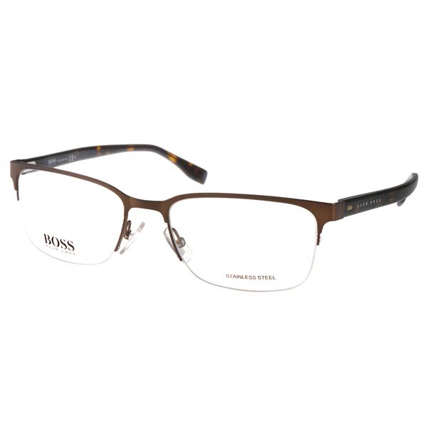 HUGO BOSS眼镜 休闲半框/棕-琥珀 #HB0682 Z0U