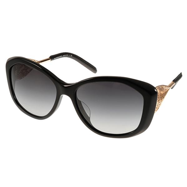 BURBERRY太陽眼鏡 Gabardine系列典雅皮革款/黑 #BU4208QF 30018G價格