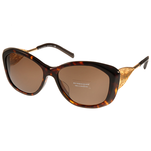 BURBERRY太陽眼鏡 Gabardine系列典雅皮革款/琥珀 #BU4208QF 300273價格