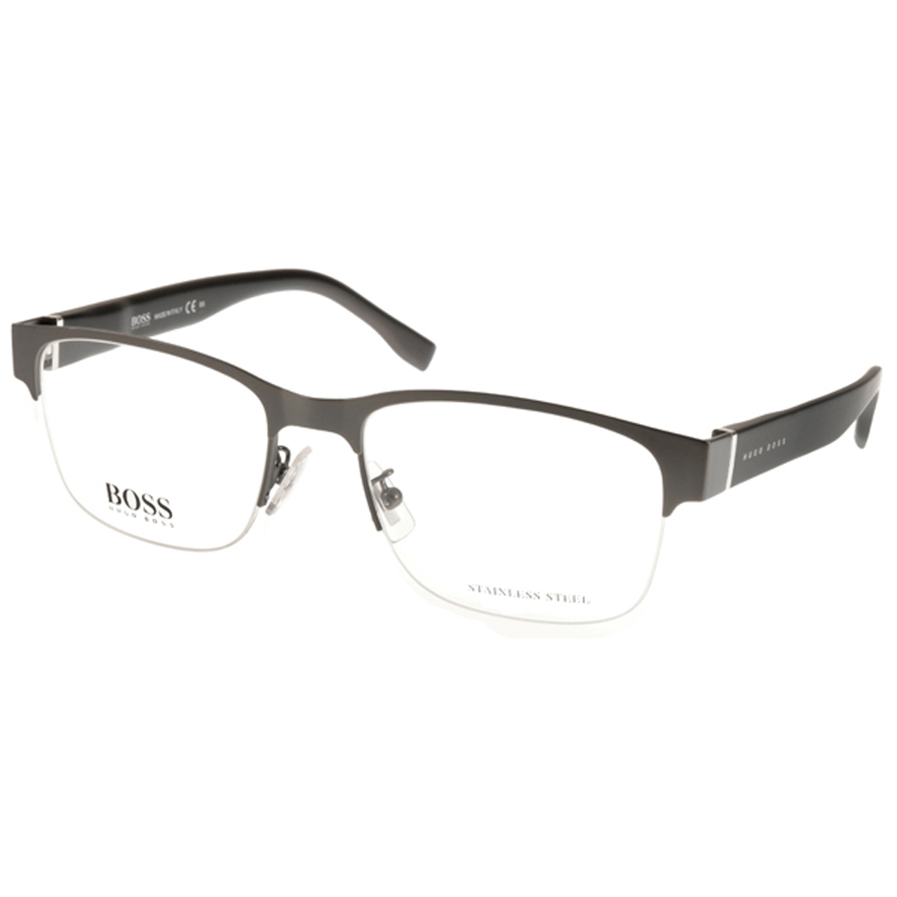 HUGO BOSS眼鏡 經典半框/霧銀-黑 HB0751F UJM