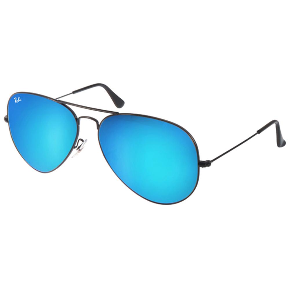 RAY BAN太阳眼镜 热销飞行/黑-蓝-水银镜面 #RB3025 0024O -62mm