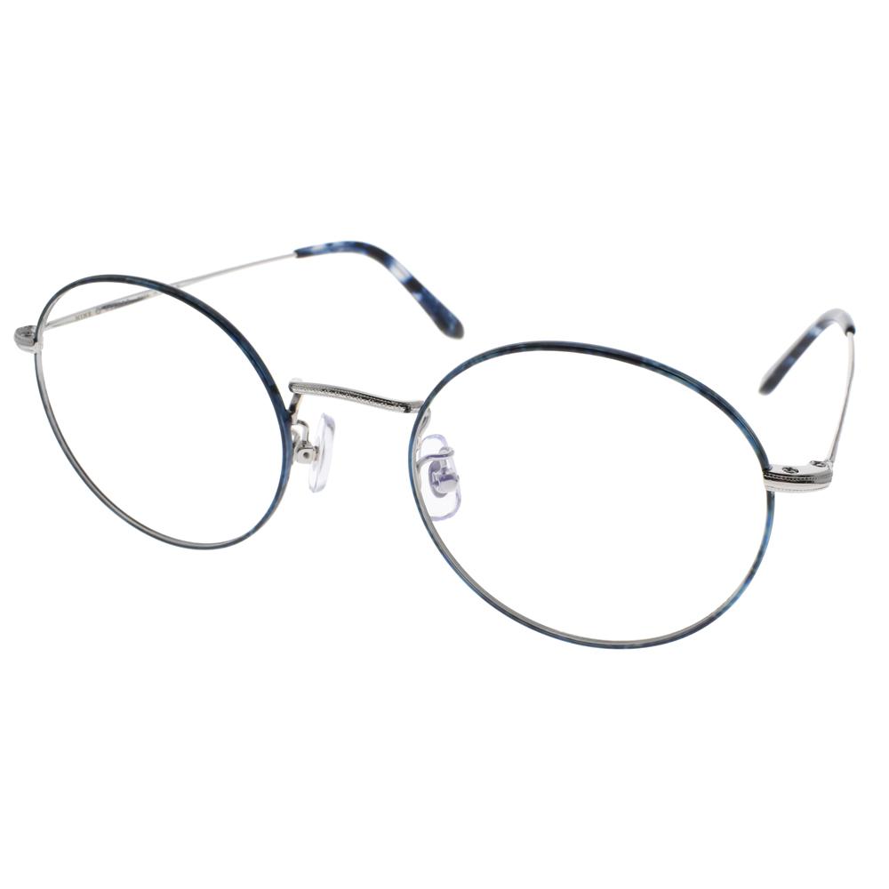 NINE ACCORD眼镜 文青风极简圆框(蓝琥珀-银) #PLACO FL2 C03