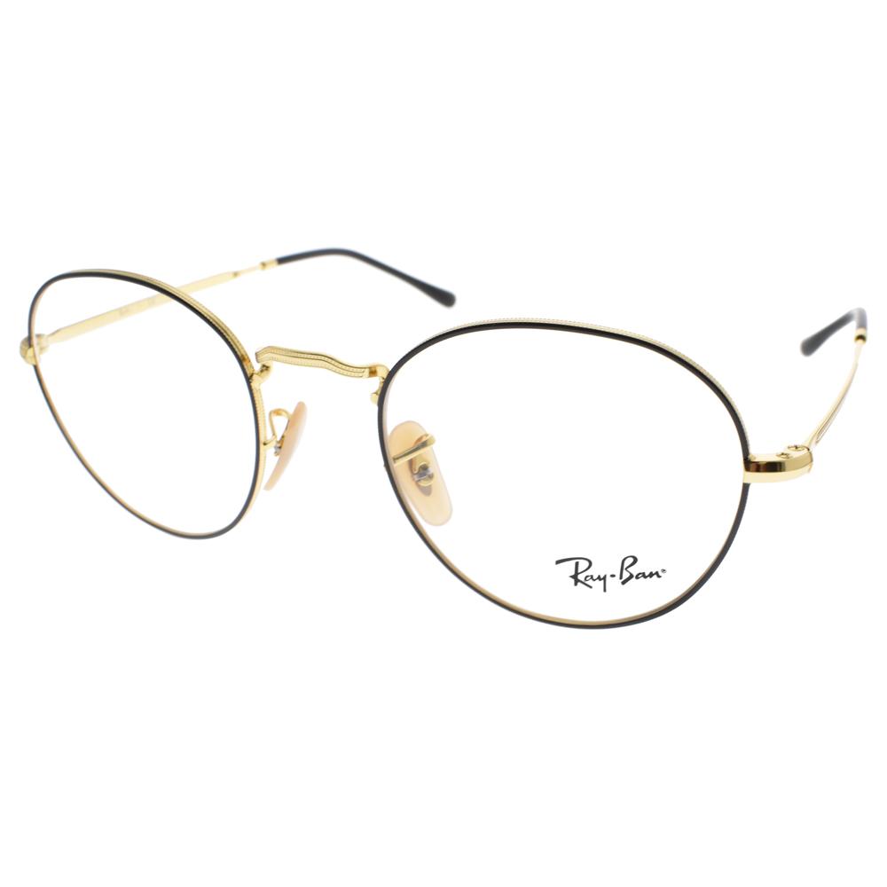 RAY BAN眼镜 时尚热销百搭圆框(黑-金) #RB3582V 2946
