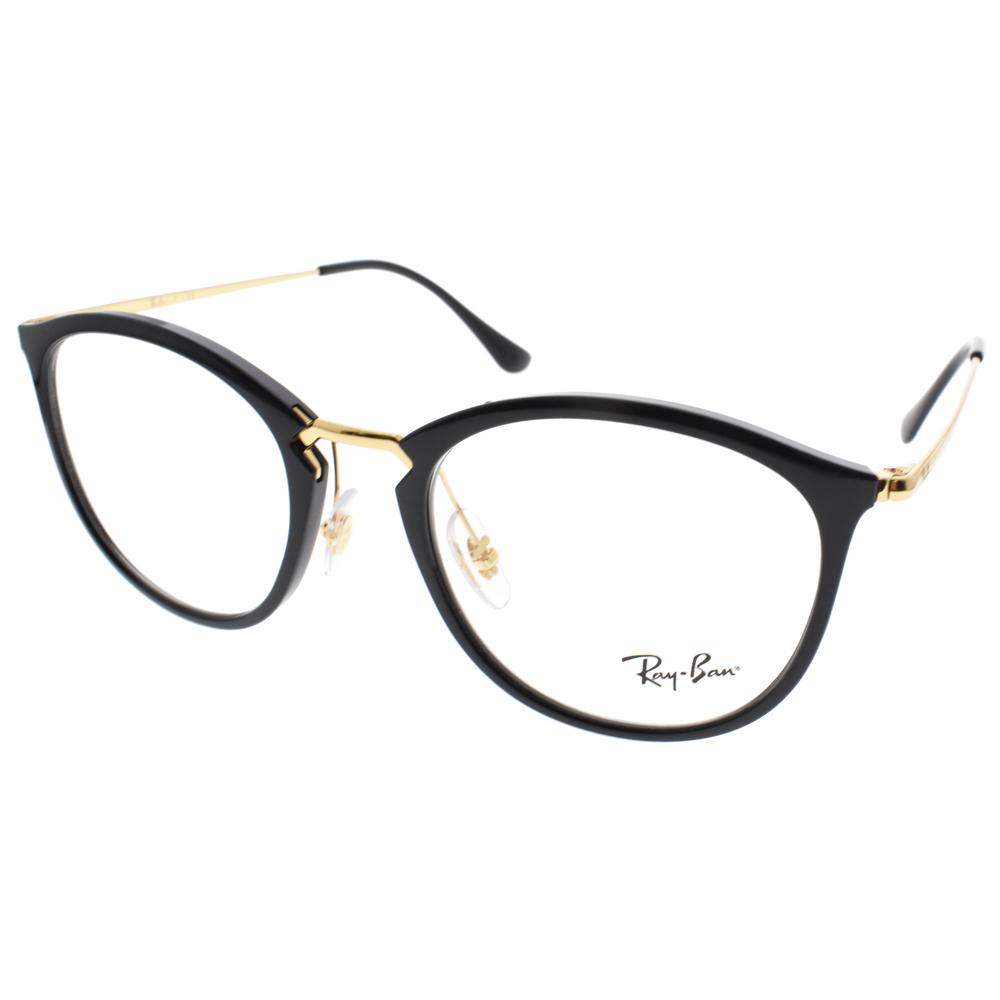 RAY BAN眼镜 俏皮简约半圆框(黑-金) #RB7140 2000