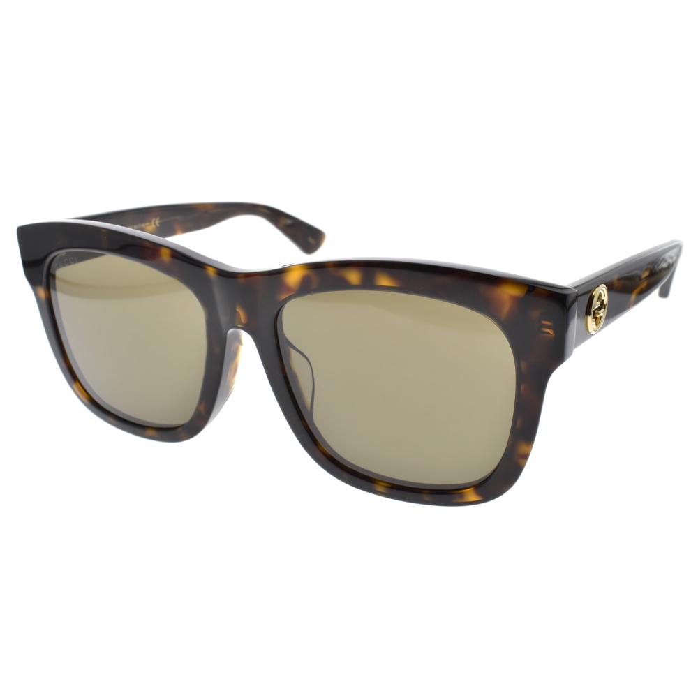 GUCCI太阳眼镜 欧美时尚简约大框(琥珀) #GG0032SA 002