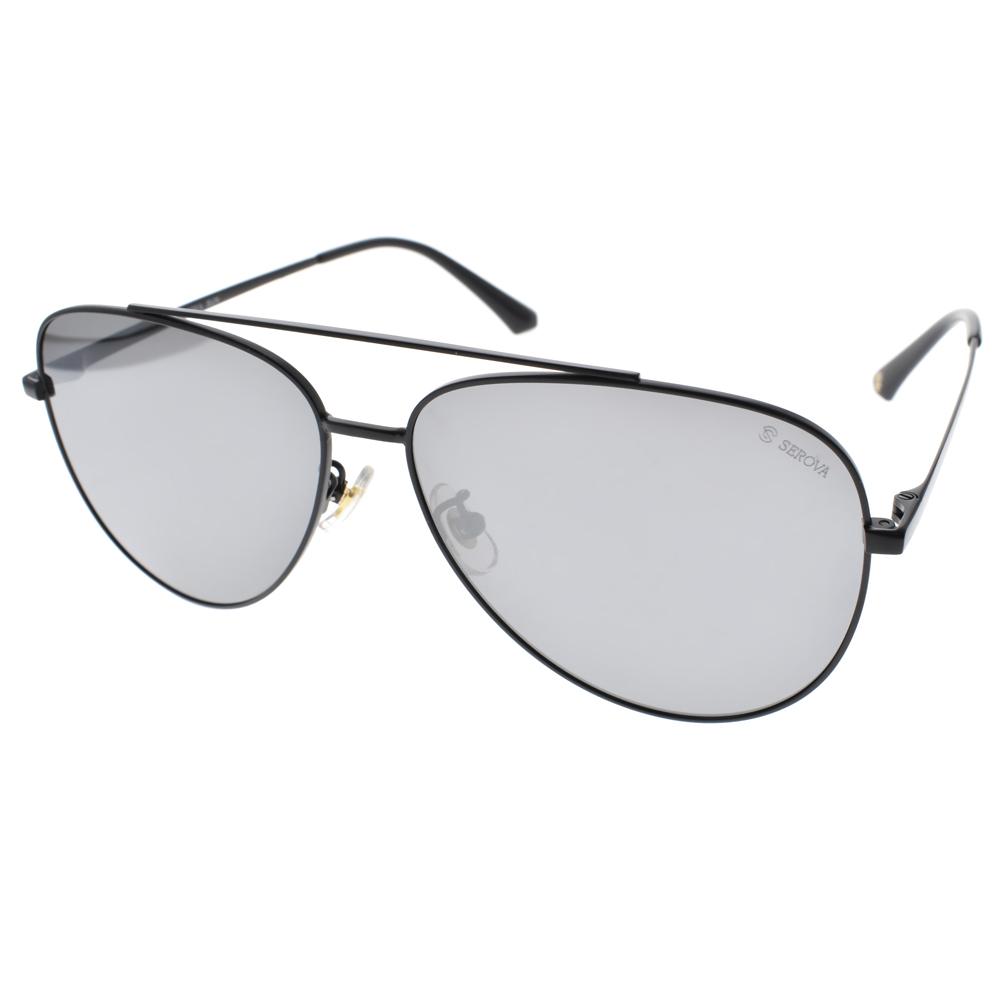 SEROVA 偏光太阳眼镜 简约流行飞官款(黑-淡水银) #SS8008 C16