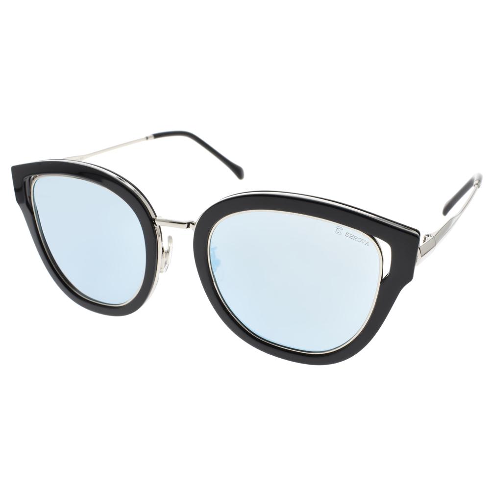 SEROVA 偏光太阳眼镜 流行时尚大框(黑-蓝水银) #SS8029 C36