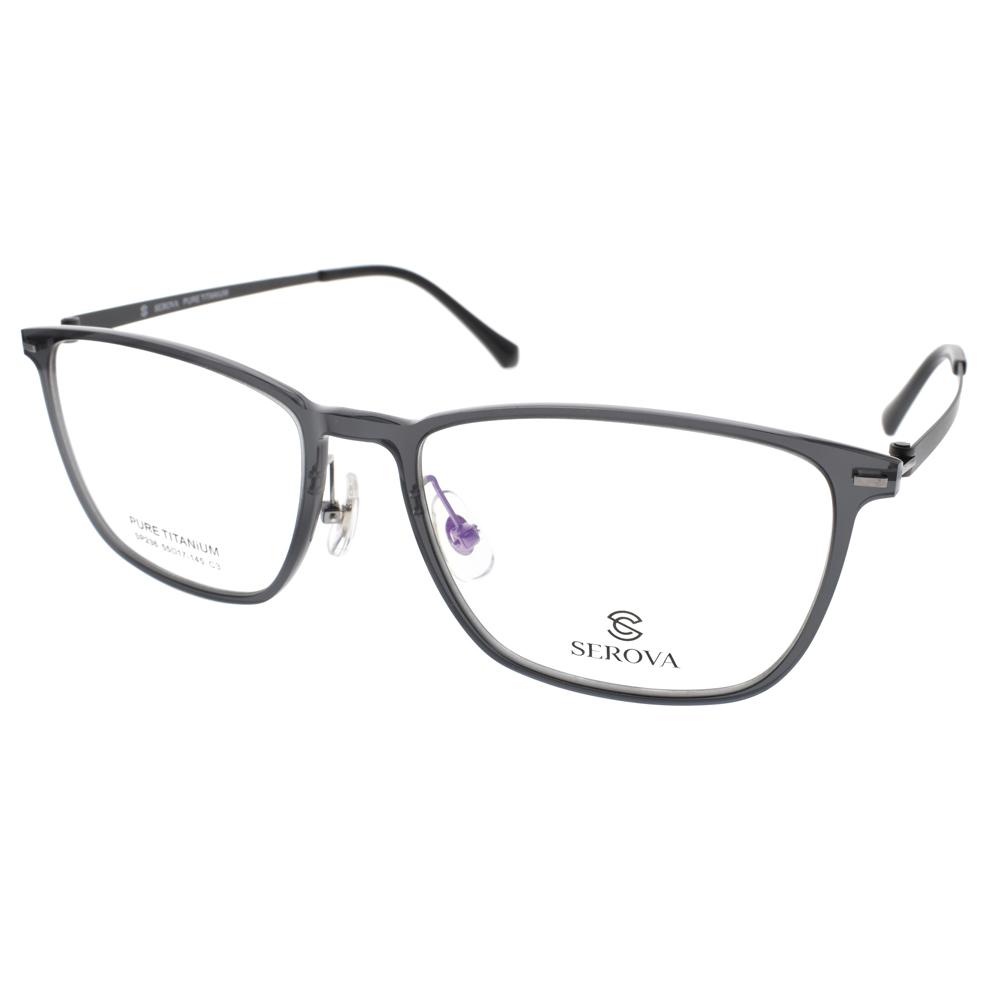 SEROVA 眼镜 流行百搭方框(透黑) #SP236 C03