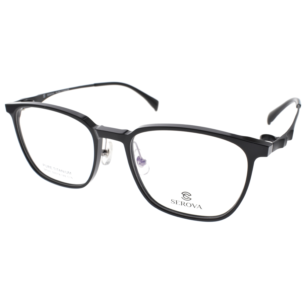 SEROVA 眼镜 流行百搭方框(黑-雾黑) #SP241 C16