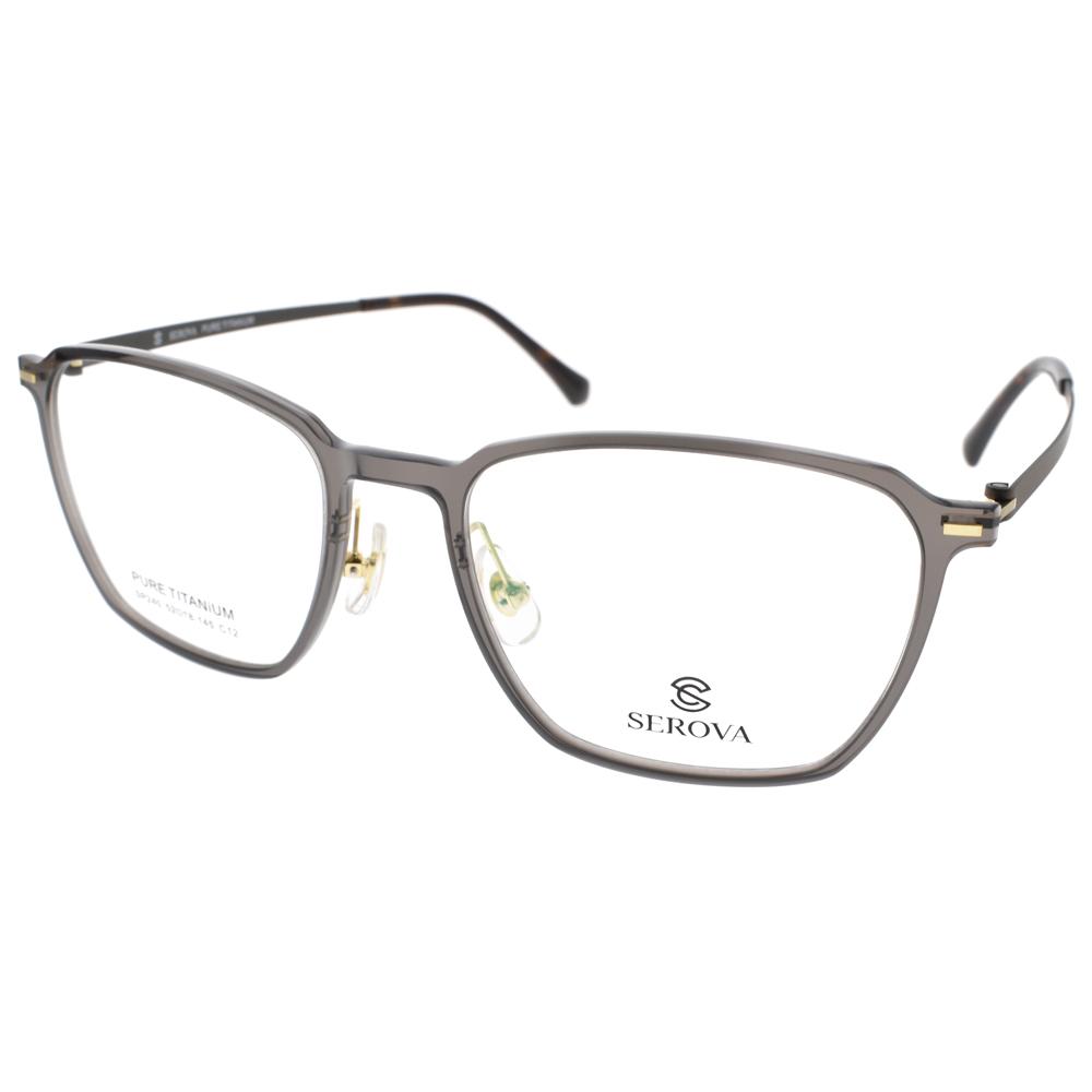 SEROVA 眼镜 简约百搭方框(透灰-枪) #SP240 C12