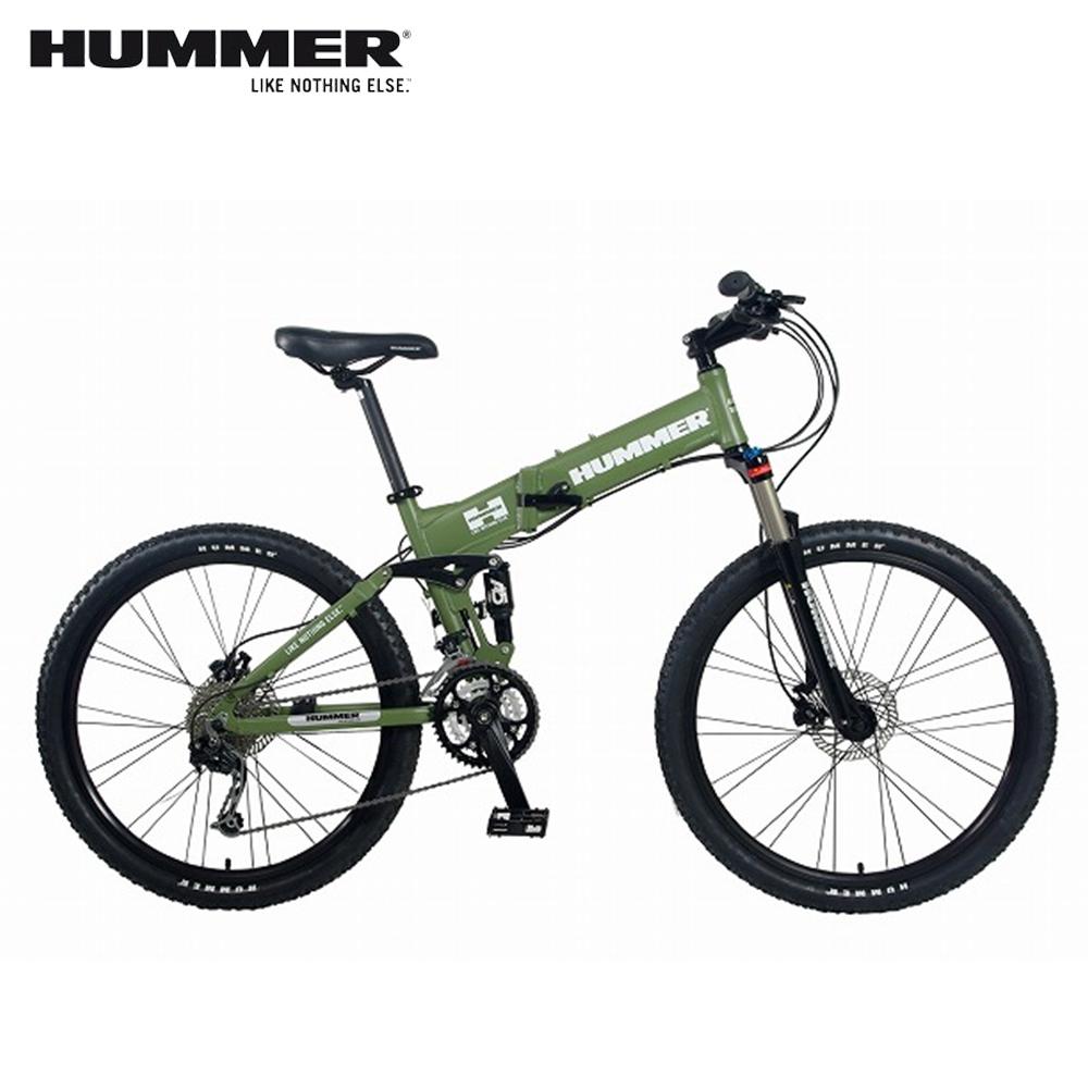HUMMER 大悍马 HM2600 26吋27速4连杆碟煞大折叠自行车-绿