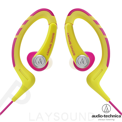 ~IPX5防水等級~鐵三角 ATH~SPORT1 黃粉紅色  耳掛式耳機
