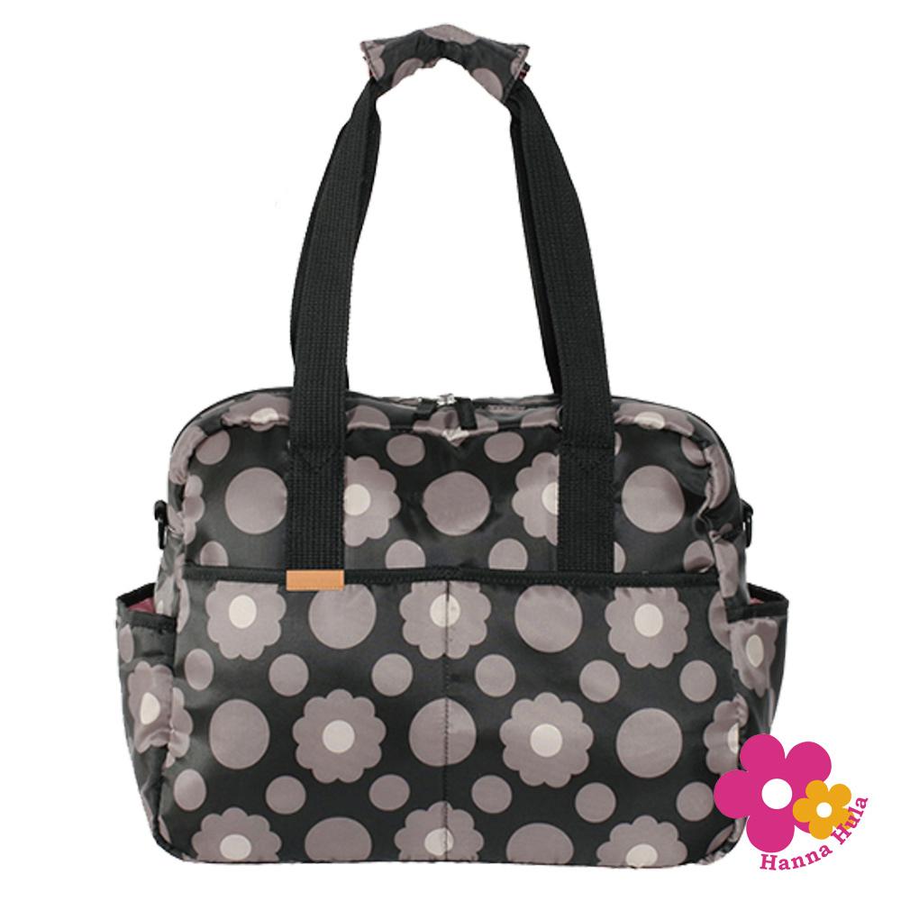 日本Hanna Hula-三用式棉花糖媽媽包/空氣包(花朵黑)