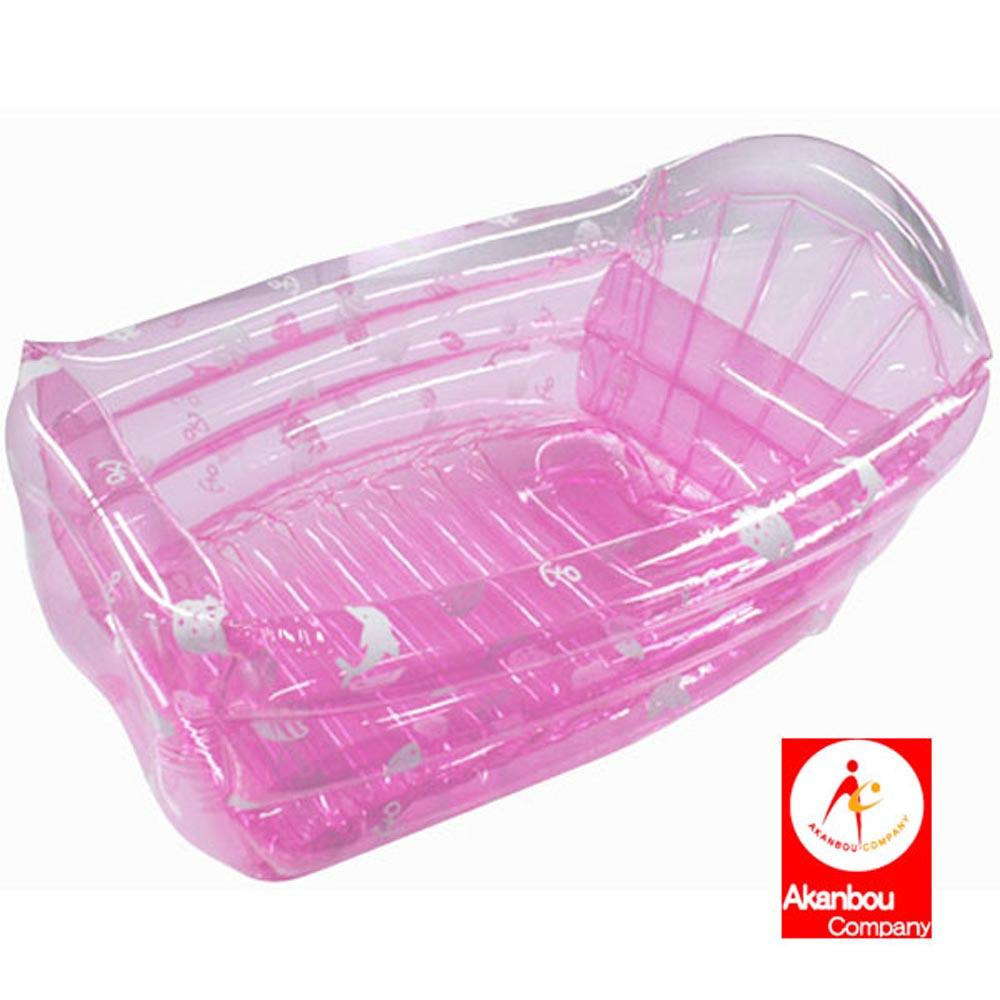 【日本Akanbou】充氣式澡盆-透明粉