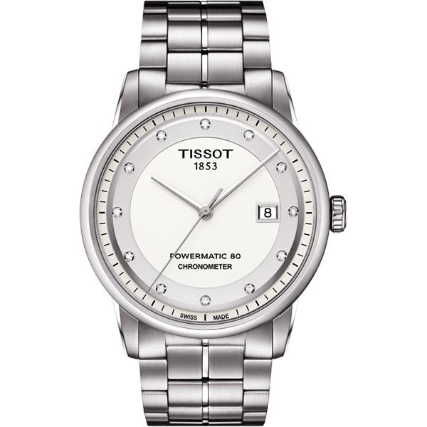 TISSOT LUXURY COSC 真鑽動力儲存80機械腕錶-白/41mm T0864081101600