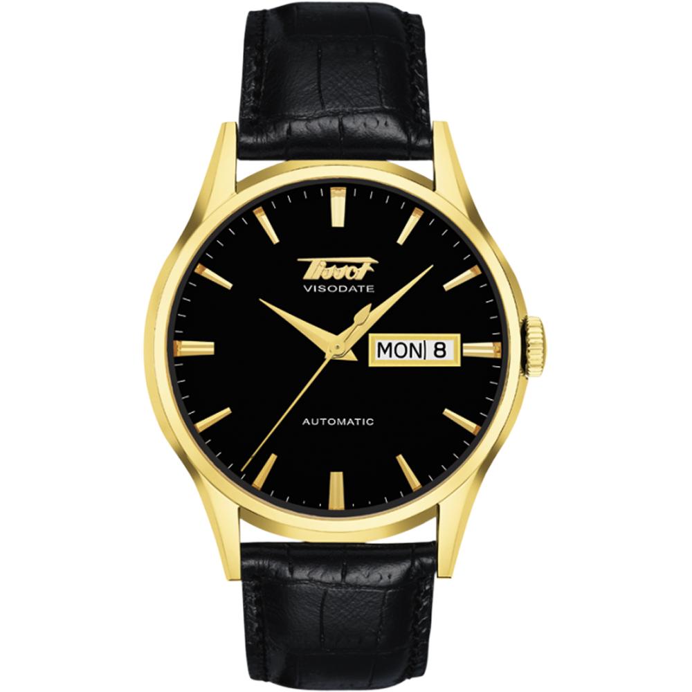 TISSOT VISODATE 1957 復刻機械腕錶-金 黑 39mm  T0194303605101