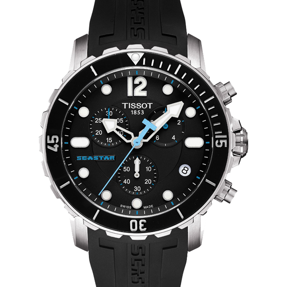 TISSOT Seastar 1000 海洋之星陶瓷表圈潜水计时腕表-黑/45mm  T0664171705700