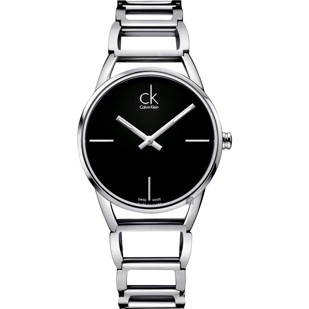 Calvin Klein CK Stately时尚镂空手环腕表-黑/33mm K3G23121